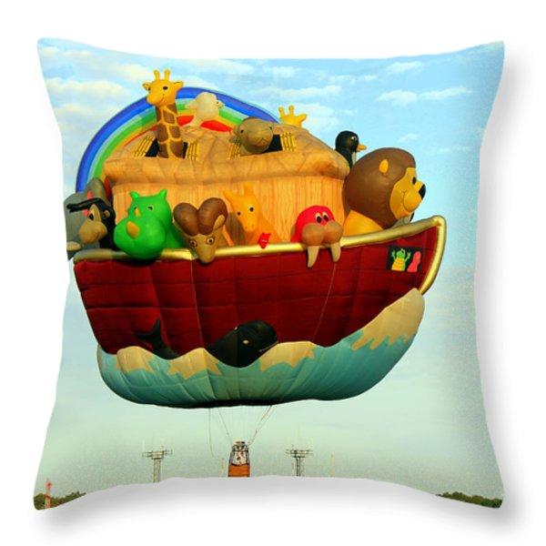 Arky Hot Air Balloon Throw Pillow by Kathy  White
