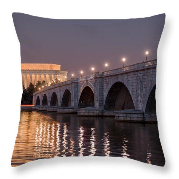 Arlington Memorial Bridge Throw Pillow by Eduard Moldoveanu