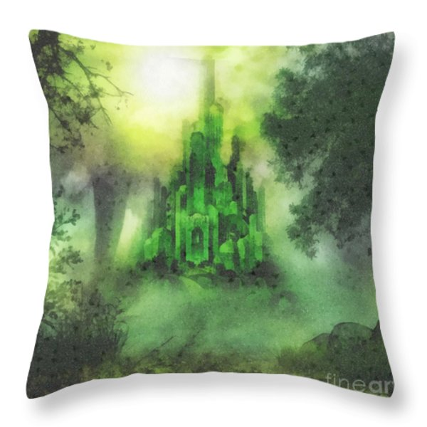Arrival to Oz Throw Pillow by Mo T