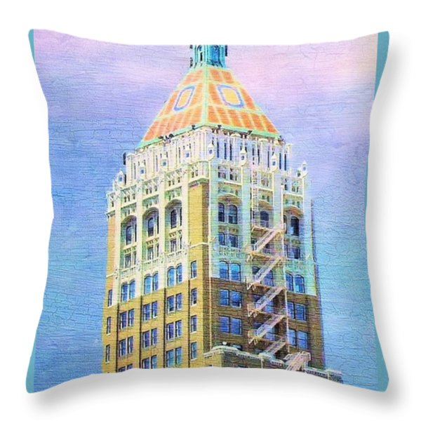 Art Deco Lives At Philtower Throw Pillow by Janette Boyd