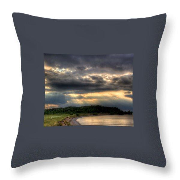 Art For Crohn's Lake Ontario Sun Beams Throw Pillow by Tim Buisman