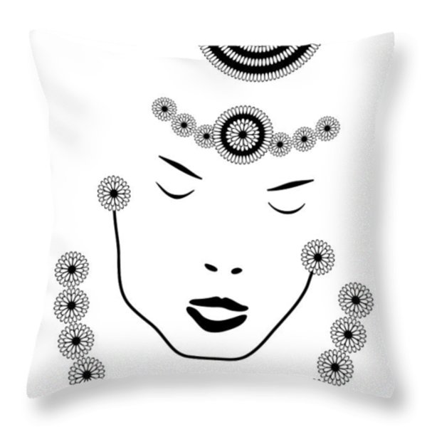 Art Nouveau Portrait Throw Pillow by Frank Tschakert