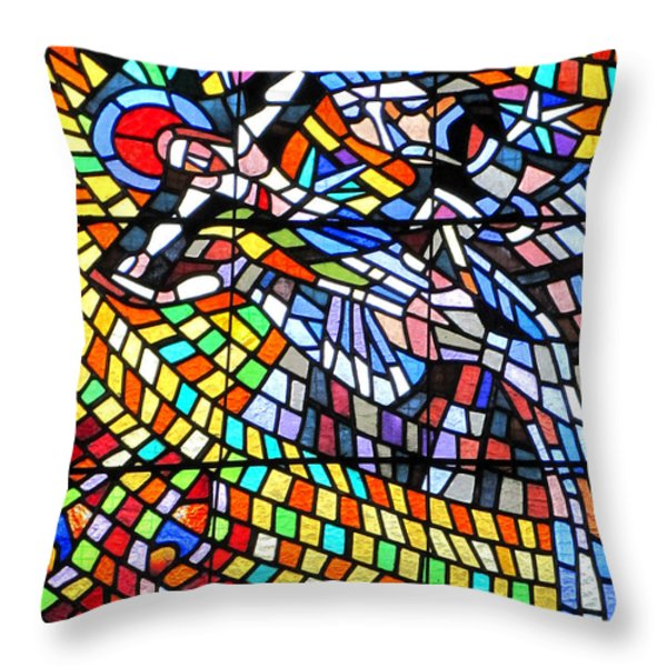Art Nouveau Stained Glass Windows Ss Vitus Cathedral Prague Throw Pillow by Christine Till