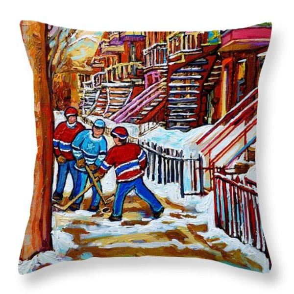 Art Of Verdun Staircases Montreal Street Hockey Game City Scenes By Carole Spandau Throw Pillow by Carole Spandau