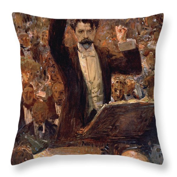 Arthur Nikisch Conducting A Concert At The Gewandhaus In Leipzig Throw Pillow by Robert Sterl