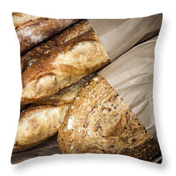 Artisan bread Throw Pillow by Elena Elisseeva