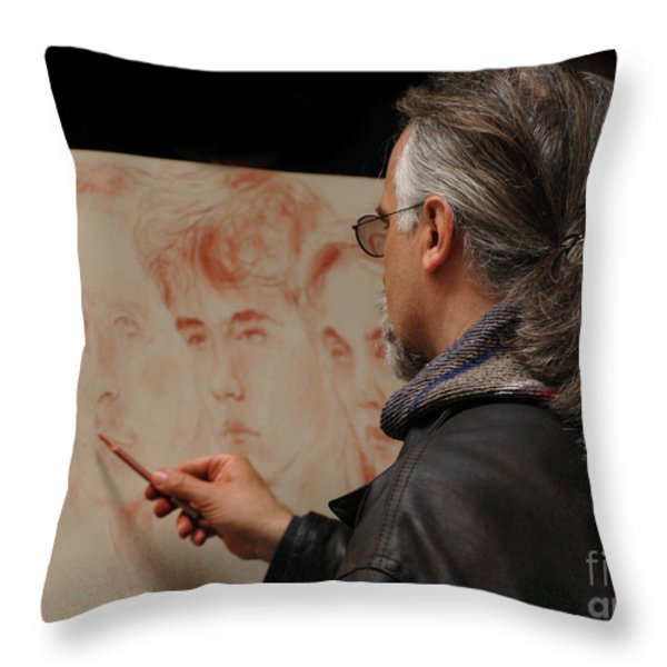 Artist At Work Florence Italy Throw Pillow by Bob Christopher