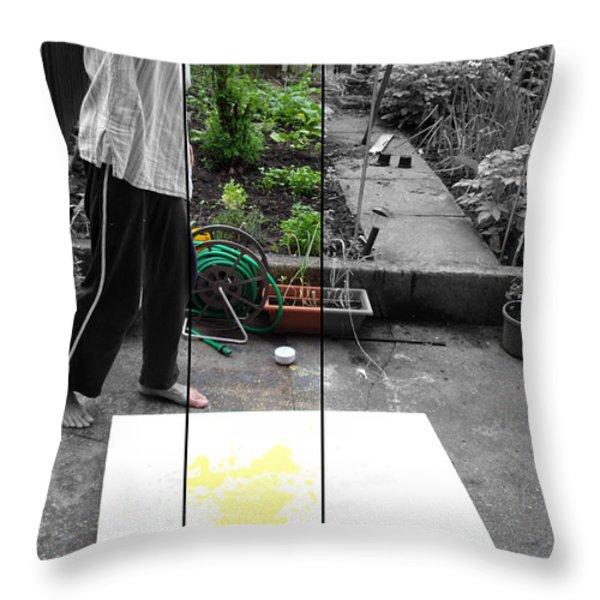 artist at work three Throw Pillow by Sir Josef  Putsche