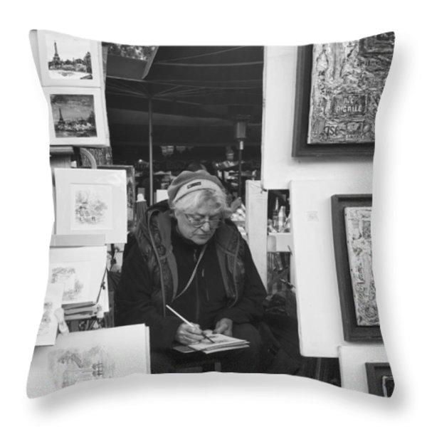 Artist Montmartre Throw Pillow by Hugh Smith