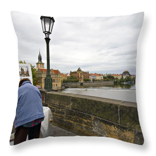 Artist on the Charles Bridge - Prague Throw Pillow by Madeline Ellis