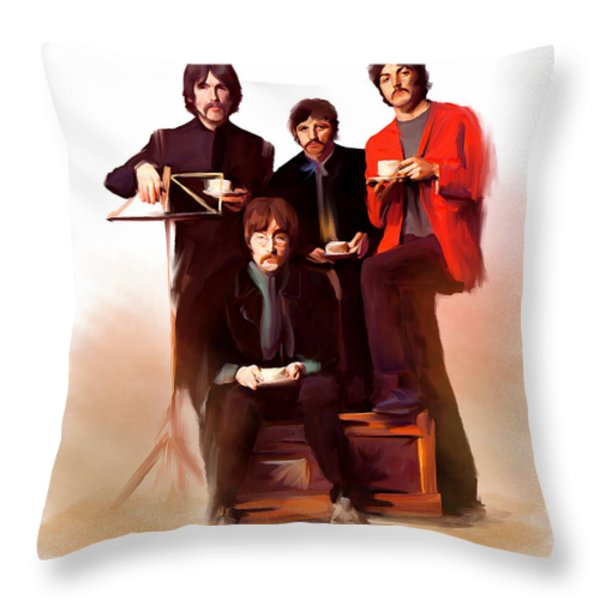 Artistic Masters The Beatles  Throw Pillow by Iconic Images Art Gallery David Pucciarelli
