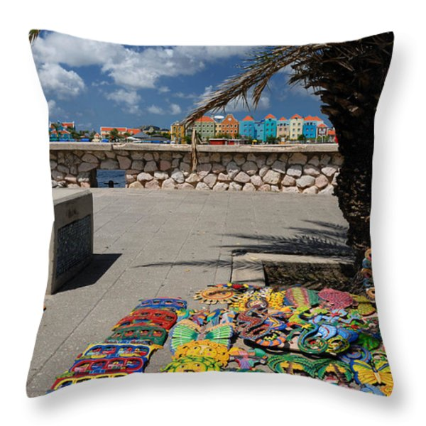 Artwork at Street Market in Curacao Throw Pillow by Amy Cicconi