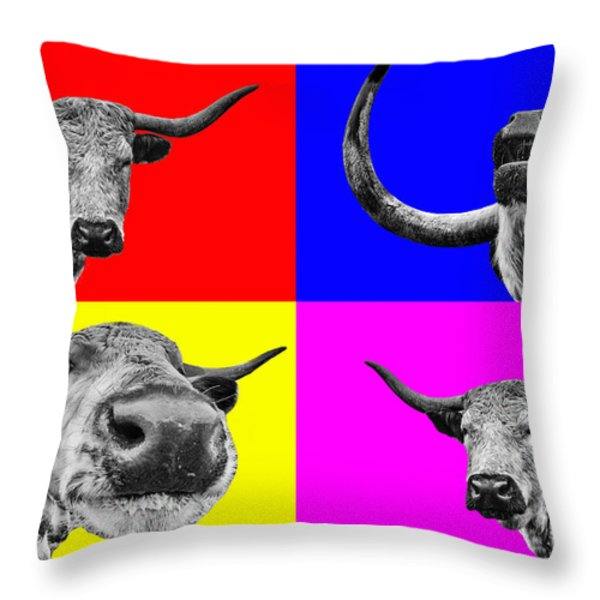 Arty Coo looking at you Throw Pillow by John Farnan