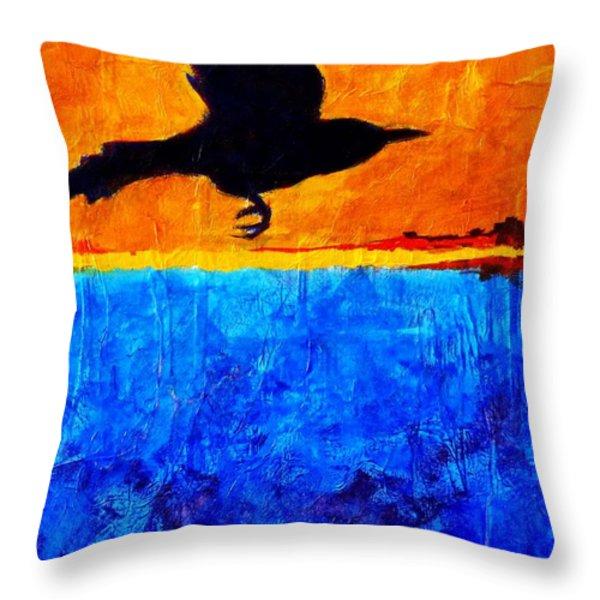As The Crow Flies Throw Pillow by Nancy Merkle