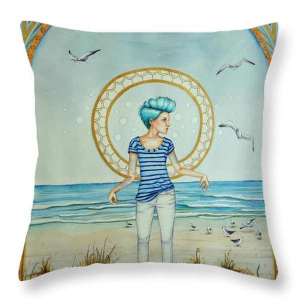 As The Wind Blows Throw Pillow by Lucy Stephens