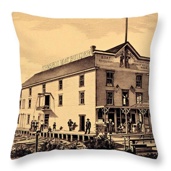 Asbury Park New Jersey Ormerod Boat Builder Throw Pillow by Movie Poster Prints