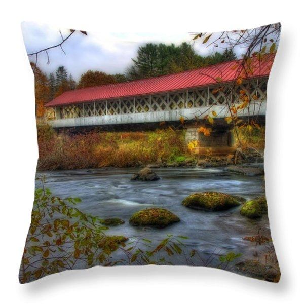Ashuelot Covered Bridge 2 Throw Pillow by Joann Vitali
