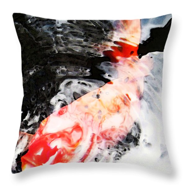 Asian Koi Fish - Black White And Red Throw Pillow by Sharon Cummings