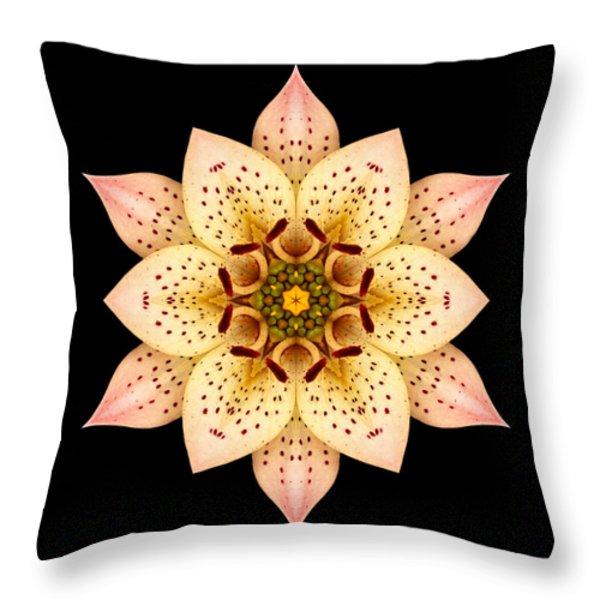 Asiatic Lily Flower Mandala Throw Pillow by David J Bookbinder