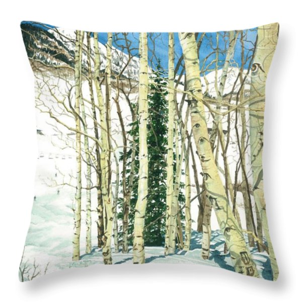 Aspen Shelter Throw Pillow by Barbara Jewell