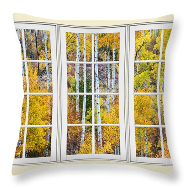 Aspen Tree Magic Cream Picture Window View 3 Throw Pillow by James BO  Insogna