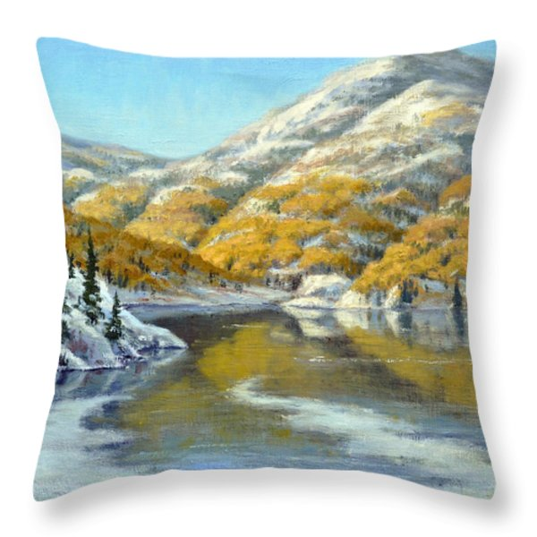 Aspens First Snow Throw Pillow by Rick Hansen