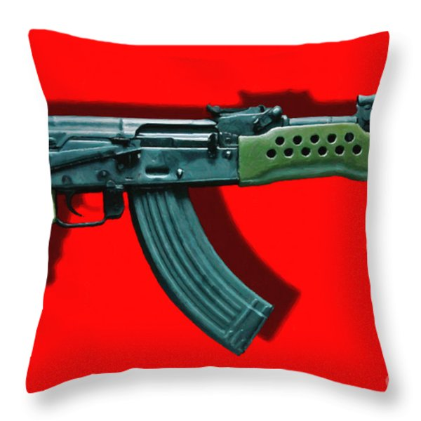 Assault Rifle Pop Art - 20130120 - v1 Throw Pillow by Wingsdomain Art and Photography
