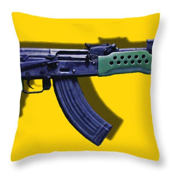Assault Rifle Pop Art - 20130120 - v2 Throw Pillow by Wingsdomain Art and Photography