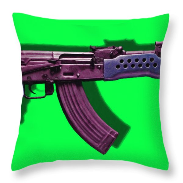 Assault Rifle Pop Art - 20130120 - v3 Throw Pillow by Wingsdomain Art and Photography