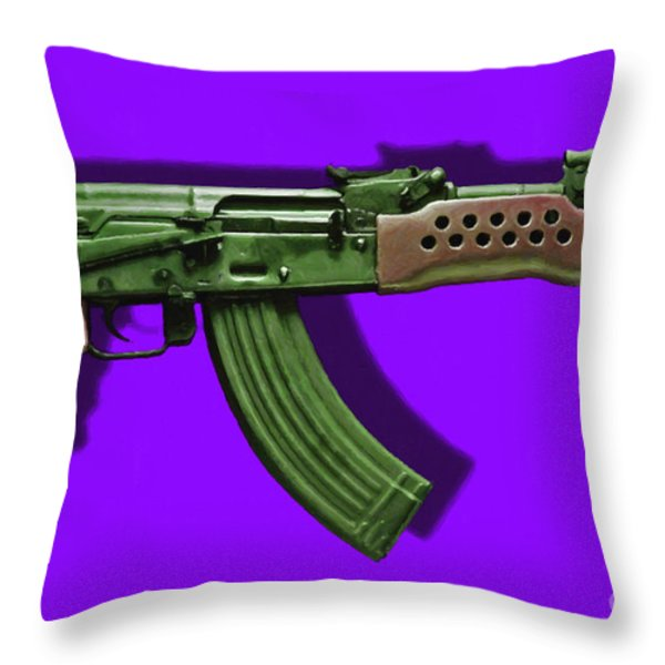 Assault Rifle Pop Art - 20130120 - v4 Throw Pillow by Wingsdomain Art and Photography
