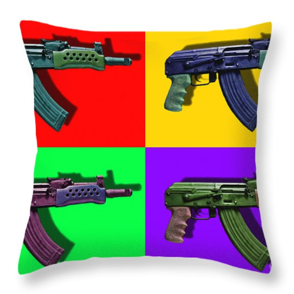 Assault Rifle Pop Art Four - 20130120 Throw Pillow by Wingsdomain Art and Photography