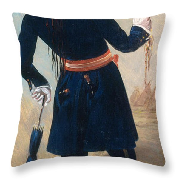Assiniboine Warrior In Regimental Throw Pillow by Photo Researchers