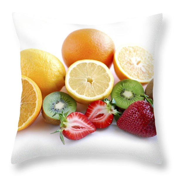 Assorted Fruit Throw Pillow by Elena Elisseeva