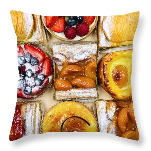 Assorted tarts and pastries Throw Pillow by Elena Elisseeva