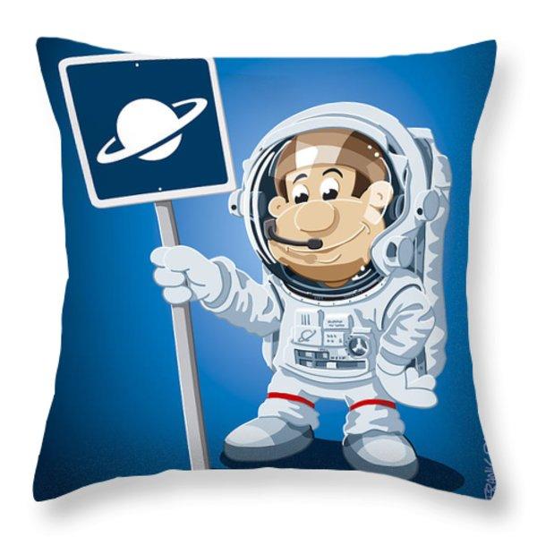 Astronaut Cartoon Man Throw Pillow by Frank Ramspott