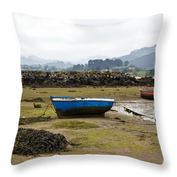 Asturias Seascape With Boats Throw Pillow by Frank Tschakert