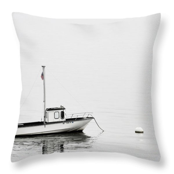 At Anchor Bar Harbor Maine Black and White Throw Pillow by Carol Leigh