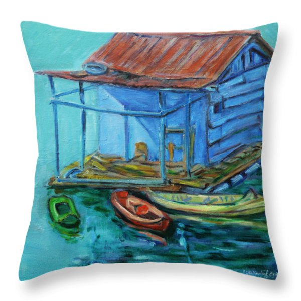 At Boat House Throw Pillow by Xueling Zou