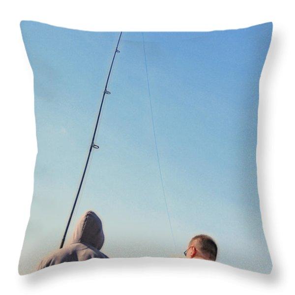 At Fishing Throw Pillow by Karol Livote