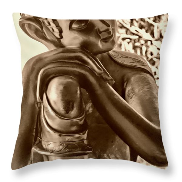 At Peace Sepia Throw Pillow by Cheryl Young