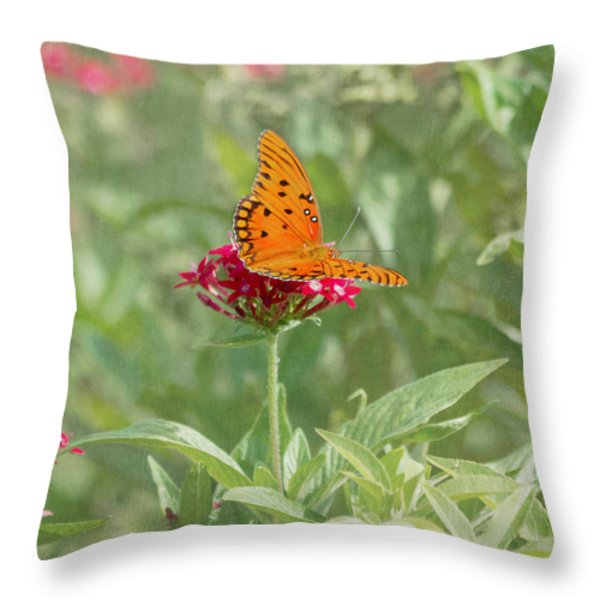 At Rest - Gulf Fritillary Butterfly Throw Pillow by Kim Hojnacki