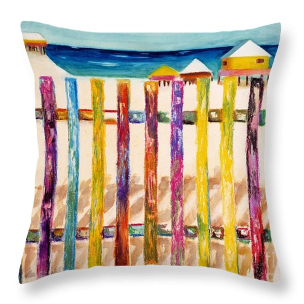 At The Beach Throw Pillow by Frances Marino