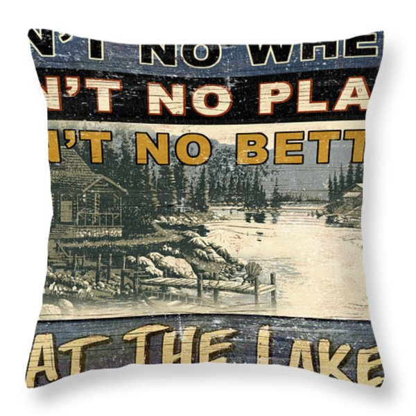 At The Lake Sign Throw Pillow by JQ Licensing