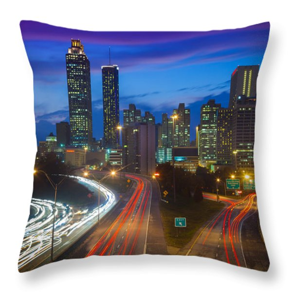 Atlanta downtown by night Throw Pillow by Inge Johnsson