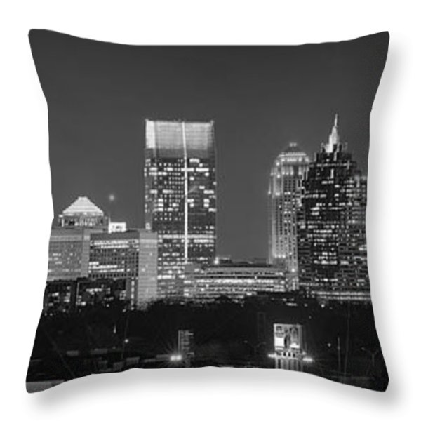 Atlanta Skyline at Night Downtown Midtown Black and White BW Panorama Throw Pillow by Jon Holiday