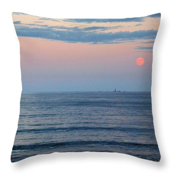 Atlantic Moon Rise Throw Pillow by Barbara McDevitt