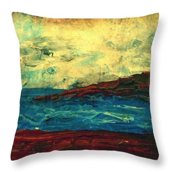 Atlantic Ocean Beach Scene Throw Pillow by Laura  Carter
