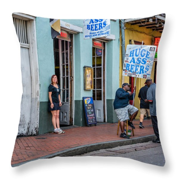 Attitude And Huge Ass Beers Throw Pillow by Steve Harrington