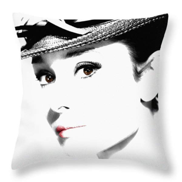 Audrey Hepburn 2 Throw Pillow by Andrew Fare