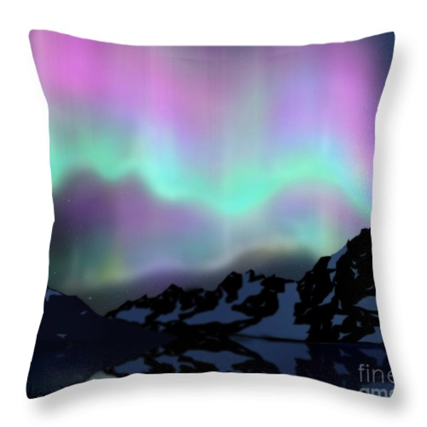 Aurora Over Lake Throw Pillow by Atiketta Sangasaeng